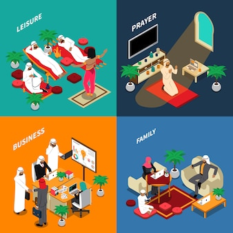 Arab people lifestyle isometric design concept