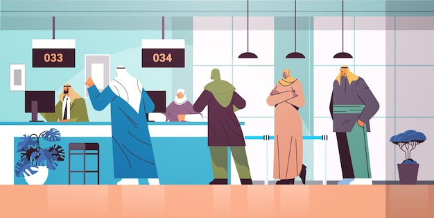 대기실 전자 대기열 시스템 대기열 관리에서 디스플레이 번호판을 보고 있는 아랍 사람들