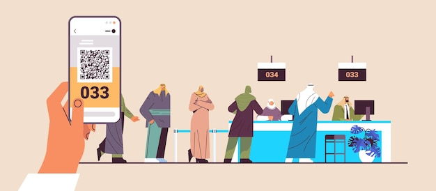 Arab people looking at display number board in waiting room electronic queuing system queue management customer service concept horizontal full length vector illustration