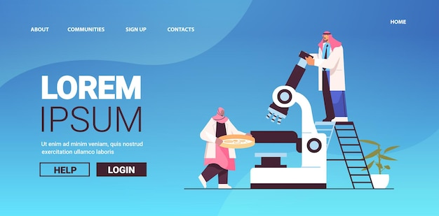 Arab research scientist team working with microscope researchers making chemical experiment in laboratory molecular engineering concept horizontal copy space full length vector illustration