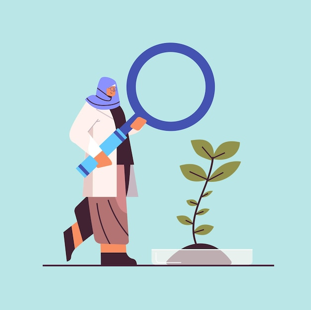 Arab research scientist working with magnifying glass woman researcher making chemical experiment in laboratory molecular engineering concept full length vector illustration