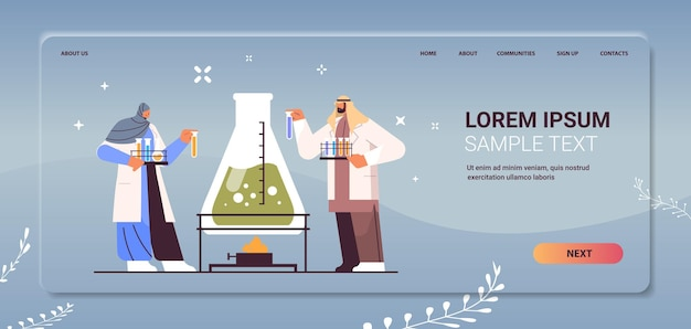 Arab research scientist working with test tube arabic researchers making chemical experiment in laboratory molecular engineering concept horizontal copy space full length vector illustration