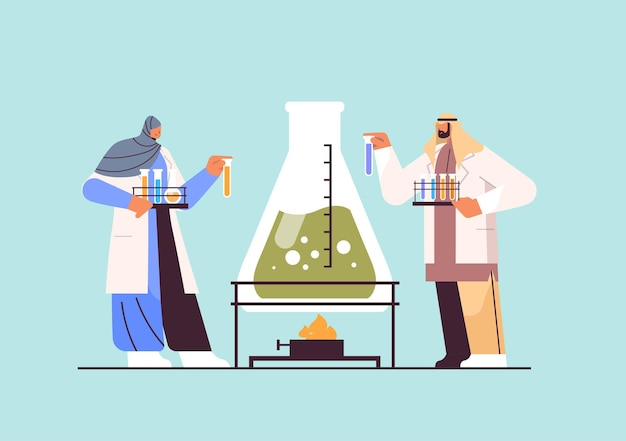 Arab research scientist working with test tube arabic researchers making chemical experiment in laboratory molecular engineering concept horizontal full length vector illustration