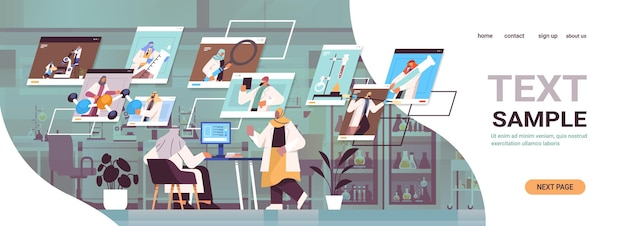 Arab researchers discussing during video call arabic scientists making chemical experiments in laboratory molecular engineering online communication concept horizontal copy space vector illustration