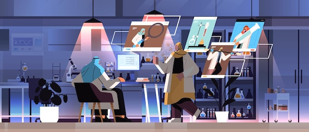 Arab researchers team making chemical experiments in laboratory and discussing during video call molecular engineering concept horizontal full length vector illustration