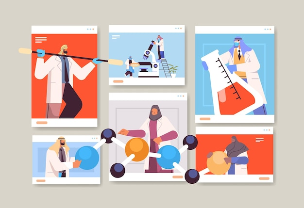 Arab researchers working with test tubes in web browser windows arabic scientists making chemical experiments in laboratory molecular engineering concept horizontal vector illustration