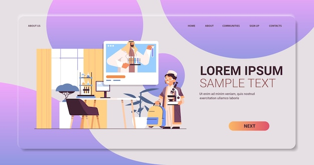 Arab schoolboy making chemical experiment with teacher in web browser window during video call self isolation online communication concept copy space living room interior horizontal vector illustratio