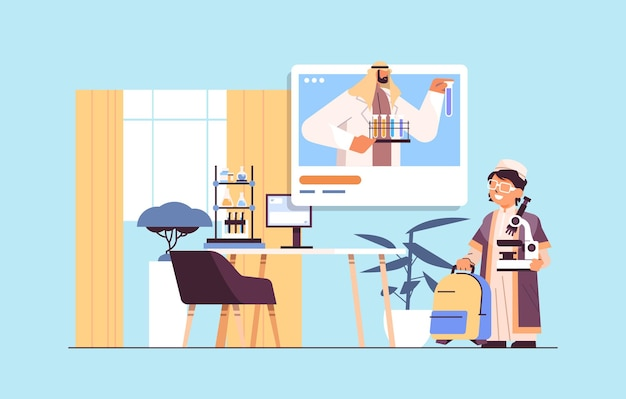 Arab schoolboy making chemical experiment with teacher in web browser window during video call self isolation online communication concept living room interior horizontal vector illustration