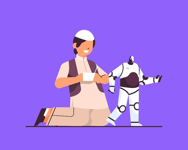 Arab schoolboy playing with radio controlled robotic toy smiling boy having fun full length vector illustration