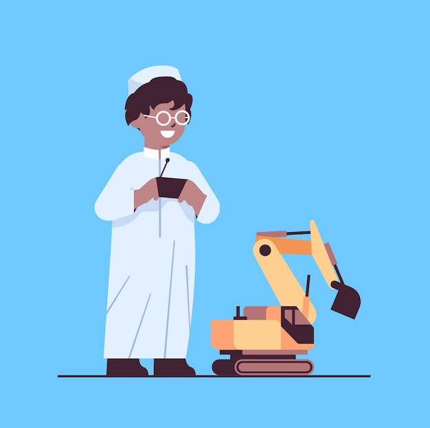 Arab schoolboy playing with radio controlled tractor toy smiling boy having fun full length vector illustration