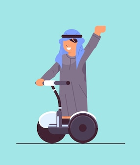 Arab schoolboy riding electrical scooter smiling boy having fun on gyroscooter personal transport concept full length vector illustration