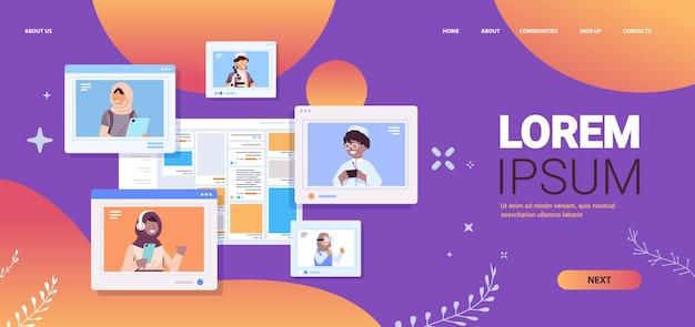 Arab schoolchildren using digital gadgets arabic pupils discussing in web browser windows horizontal portrait copy space vector illustration