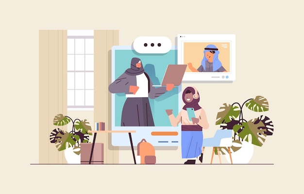Arab schoolchildren in web browser windows discussing with teacher during video call self isolation online communication concept living room interior horizontal vector illustration