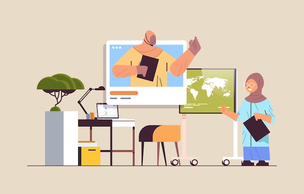 Arab schoolgirl discussing with arabic teacher in web browser window during video call self isolation online communication concept living room interior horizontal vector illustration