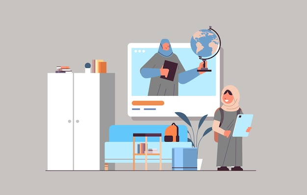 Arab schoolgirl discussing with teacher in web browser window during video call self isolation online communication concept horizontal vector illustration
