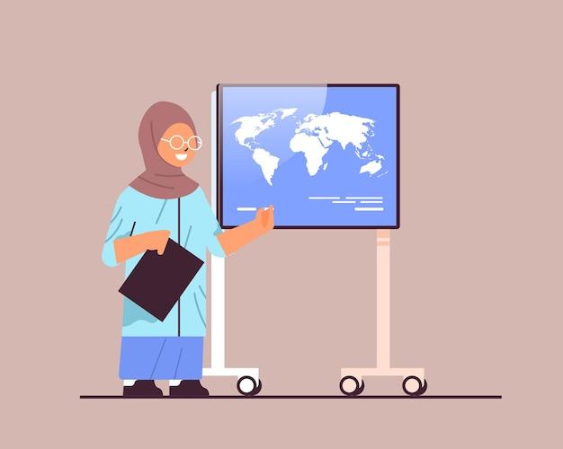 Arab schoolgirl presenting world map on digital board presentation education concept horizontal full length vector illustration