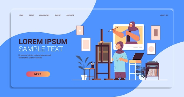 Arab schoolgirl with female teacher artist in web browser window painting picture during video call self isolation concept modern workshop interior horizontal copy space full length vector illustratio