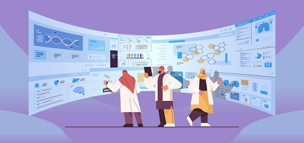Arab scientists team analyzing medical data on virtual board medicine healthcare concept hospital interior full length horizontal vector illustration