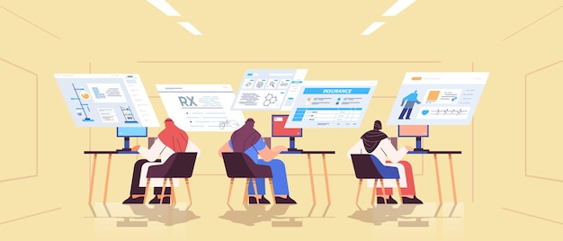 Arab scientists team analyzing medical data on virtual boards medicine healthcare concept full length horizontal vector illustration