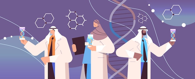 Arab scientists working with dna in test tubes researchers team making experiments in lab dna testing genetic engineering diagnosis