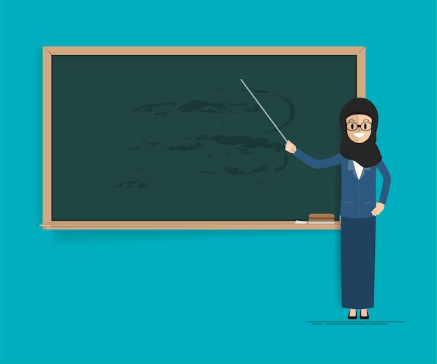 Arab student or teacher with blackboard.