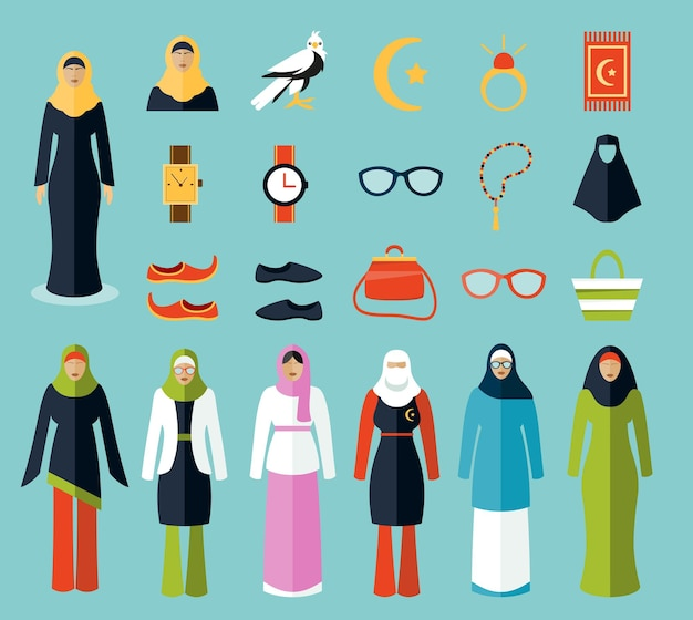 Arab woman accessories and clothes icons.