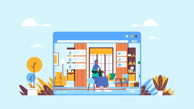 Arab woman blogger using smartphone recording online video blog live streaming blogging concept arabic girl vlogger in web browser window living room interior horizontal vector illustratio
