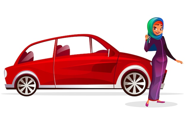 Arab woman and car cartoon illustration. modern rich girl in saudi arabia hijab