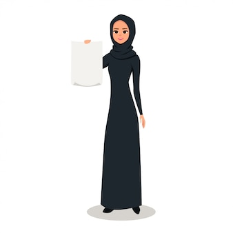 Arab woman character holds blank sheet of paper