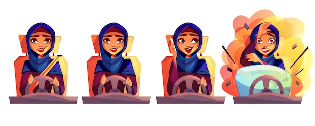 Arab woman driving car illustration of girl in saudi arabia hijab with not fasten seatbelt