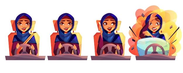 안전 벨트를 고정하지 않은 사우디 아라비아 hijab에서 여자의 차를 운전하는 아랍 여자