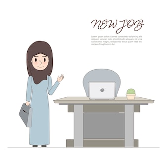 Arab woman going to new job and new office.