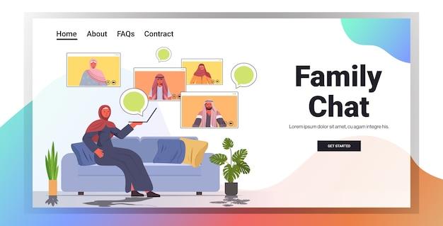 Арабская женщина, имеющая виртуальную встречу с членами семьи во время видеозвонка, концепция онлайн-общения, интерьер гостиной, горизонтальная копия пространства