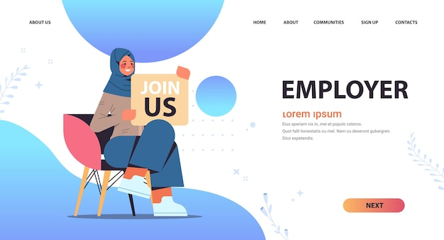 Arab woman hr manager holding we are hiring join us poster vacancy open recruitment human resources concept full length copy space horizontal vector illustration