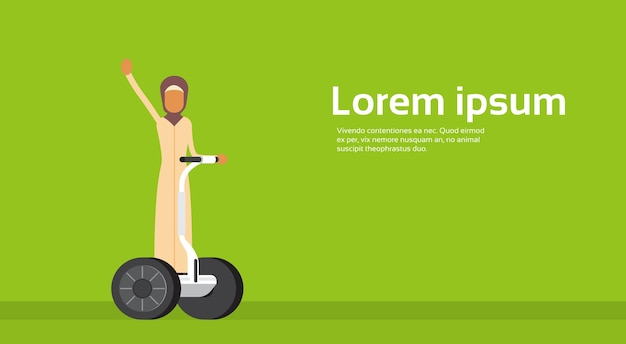 Arab woman ride electrical bicycle segway scooter copy space