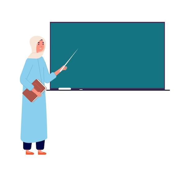 Arab woman teacher. muslim businesswoman at blackboard, islamic school office. cartoon female in hijab teaching students vector illustration. teacher arab woman in hijab show to blackboard