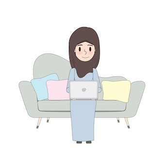 Arab woman using computer doodle design.