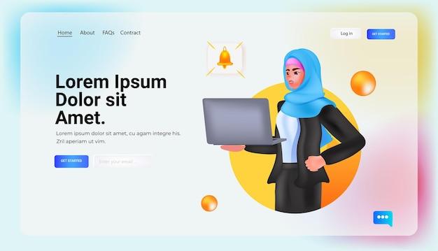 Арабская женщина, использующая ноутбук в социальных сетях, концепция онлайн-коммуникации, портрет