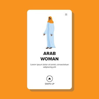 Arab woman wearing hijab cultural clothes vector. arab woman in muslim traditional dress staying alone. character lady arabian style clothing, islam person web flat cartoon illustration