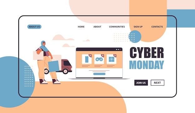 Arab woman with shopping bags choosing goods on laptop screen online shopping cyber monday big sale concept   copy space