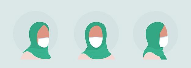 아랍 여성은 마스크 세트가 있는 세미 플랫 컬러 벡터 캐릭터 아바타입니다. 전면 및 측면 보기에서 인공 호흡기와 초상화입니다. 그래픽 디자인 및 애니메이션 팩을 위한 격리된 현대 만화 스타일 그림