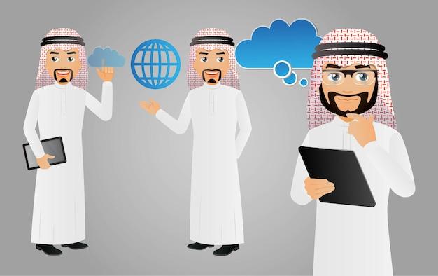 아랍비즈니스맨 클라우드 컴퓨팅