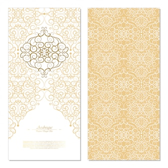 Arabesque abstract eastern element white and gold background card