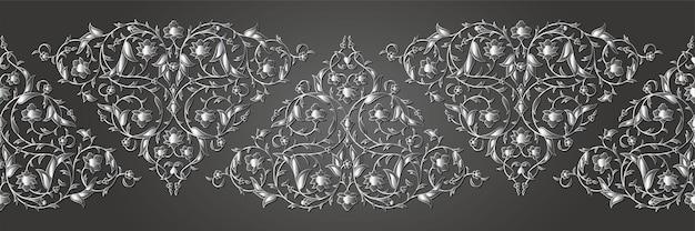 꽃 잎과 꽃잎과 당초 아랍어 원활한 꽃 패턴 지점