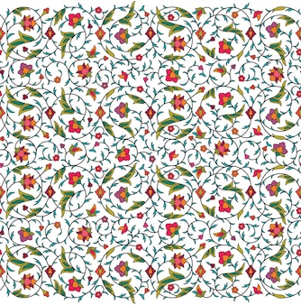 Arabesque arabic seamless floral pattern. branches with flowers, leaves and petals