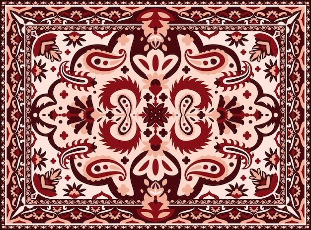 アラベスク絨毯。エスニックな幾何学模様のインドとペルシャ絨毯、インテリアフロアテキスタイルのヴィンテージテクスチャ。ベクトルイラスト高級カラフルな部族のテキスタイルボーダーデザイン