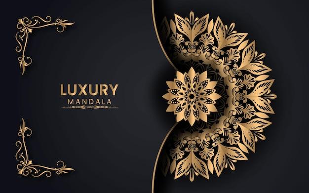 Arabesque golden mandala islamic background for milad un nabi festival premium vector