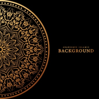 Arabesque islamic background with gold luxury floral