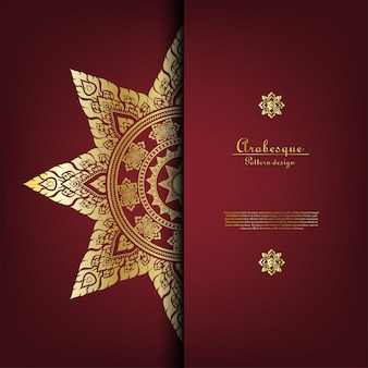 Arabesque thai pattern gold background card template vector
