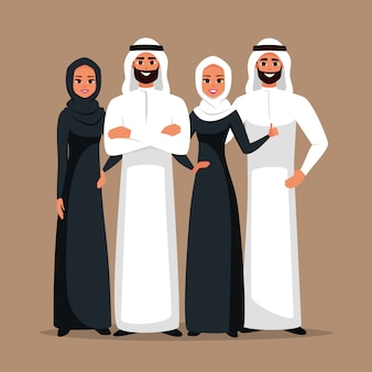 Arabian business team of men and women